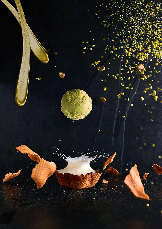 design culinaire explosion saveurs pistache cornet glace sorbet
