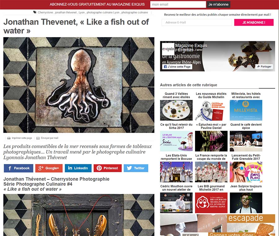 Magazine Exquis, portrait photographe culinaire lyon _ Jonathan THEVENET