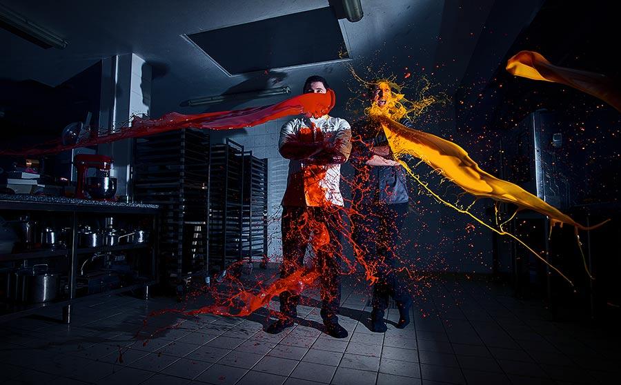 portrait de pâtissier dynamique