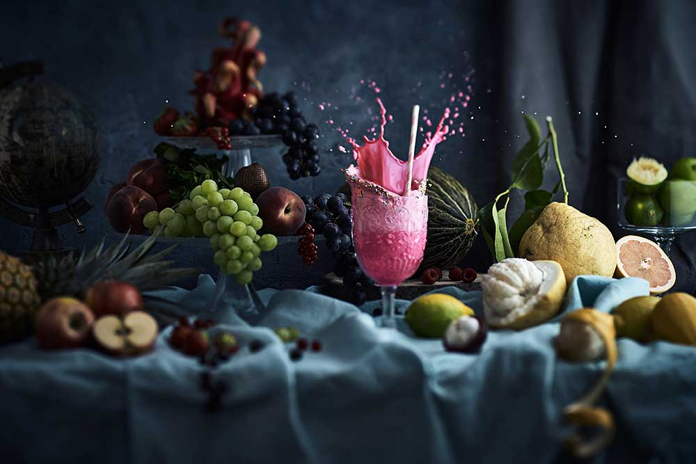 Nature morte culinaire_explosion_saveurs_high speed photo